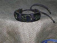 Кожаный браслет  СОВЫ ручная работа