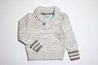 Детский вязаный свитер для мальчика серый р.62/68