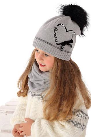 Тепла в'язана шапочка для дівчинки від MARIKA Польща, фото 2
