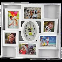 Мультирамка на 6 фото с овальными часами