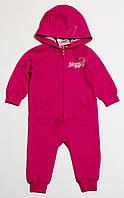 Детский хлопковый комбинезон с капюшоном на флисе для девочки розовый р.74/80