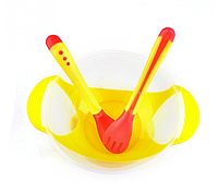Тарелочка на присоске + ложечка и вилочка с индикатором температуры. Желтый.