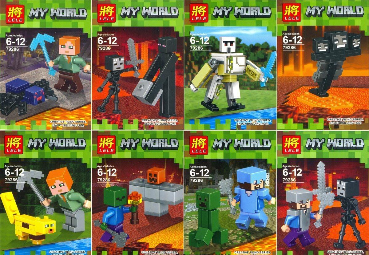 Конструктор Lele серия My World 79286 8 видов (аналог Lego Майнкрафт, Minecraft)