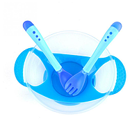 Тарелочка на присоске + ложечка и вилочка с индикатором температуры. Синий