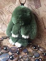 Брелок кролик Rex Fendi из натурального меха 13 см - цвет темно-зеленый