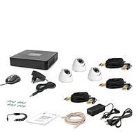 AHD комплект наблюдения на 3 купольные уличные камеру Tecsar 3OUT-DOME, 1 Мп // 3OUT-DOME