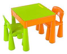 Комплект детской мебели стол 2в1 и 2 стульчика Tega Mamut оранжево-салатовый, подходит для Lego