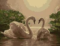 Живопись по номерам 40 × 50 см. Лебеди.