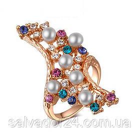 Женское кольцо 18К позолота, фианиты  16 размер