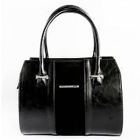 Женская классическая сумка деловая черная с замшей