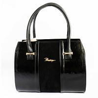 Компактная черная сумка лак/замша деловая