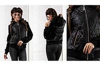 Женская Куртка женская с меховыми рукавами  батал ++ весна/осень