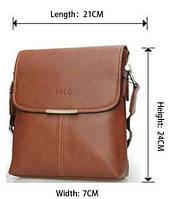 Стильная кожаная мужская сумка Polo (Есть 3 цвета) + Подарок! POLO, Сумка-планшетка/Полевая, Светло-коричневый