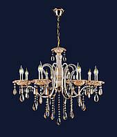 Классическая золотая люстра на 8 ламп без плафонов