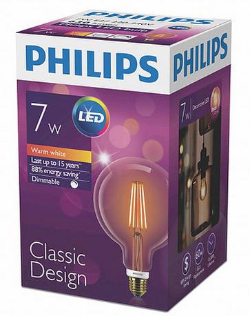Лампа Эдисона светодиодная 7W Philips G120 2000K диммируемая цвет-шампань