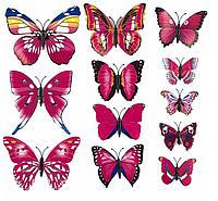 Интерьерная настенная наклейка «Бабочки» розовые