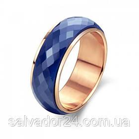 Двойное кольцо, позолота 18К, синяя керамика с огранкой, 18 размер