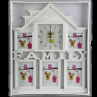 Семейная рамка в виде дома на 5 фотографий с часами