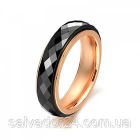 Двойное кольцо, позолота 18К, черная керамика с огранкой, 18 размер