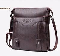 Кожаная мужская сумка-барсетка Polo Vicuna Есть 3 цвета! Темно-коричневый