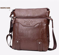 Кожаная мужская сумка-барсетка Polo Videng Есть 3 цвета! Да, Да, Классический, Прямоугольная, Светло-коричневый