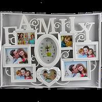 Мультирамка для семьи на 7 фото с часами