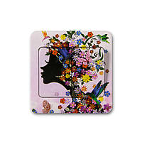 Наклейка на выключатель Цветочная фея 3D декор
