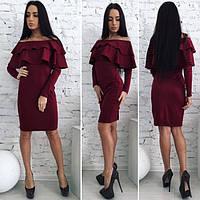 Трикотажное платье с воланами