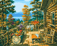 Картини по номерах 40×50 см. Терраса лесного домика Художник Сунг Ким, фото 1