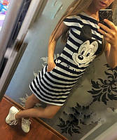 Летнее платье тельняшка с микки маусом