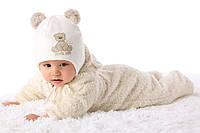 Теплая вязанная шапочка для девочки лапули от MARIKA Польша