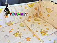 """Постельный набор в детскую кроватку (8 предметов) Premium """"Мишки в гамаке"""" бежевый"""