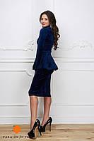 Платье со съемной баской синий бархат 11969