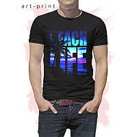 Футболка черная мужская с рисунком Beach Life