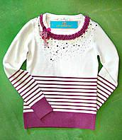 Детский нарядный свитер для девочки от 6 до 9 лет Жемчуг
