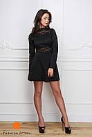 Платье черное с кружевными вставками 11971
