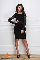 Платье с гипюром черное 11974