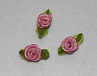 Атласная розочка с листиками чайная роза 774  упаковка 10 шт