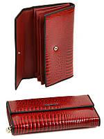 Женский лаковый кожаный кошелек Alessandro Paoli. Черный и красный кошелек из натуральной кожи. Модный, фото 1
