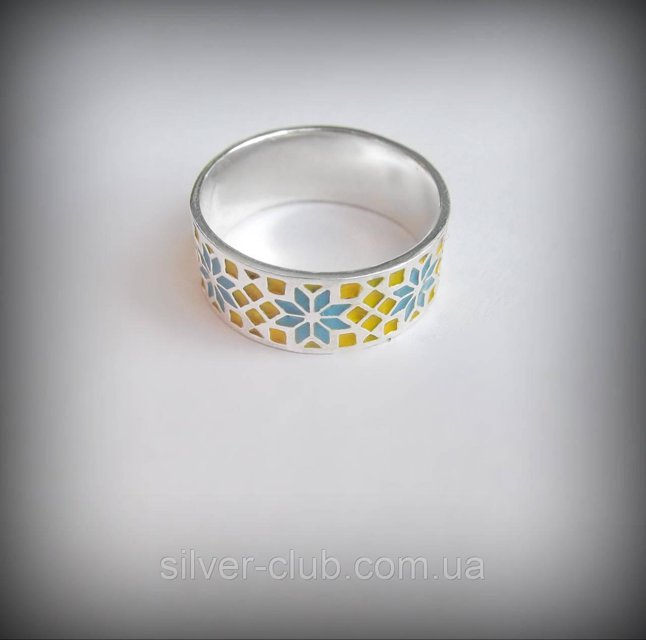 9cf02bf381b2 1051-1 Кольцо Вышиванка с эмалью из серебра 925 пробы - Интернет-магазин  серебряных