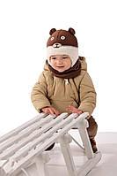 Теплая вязанная шапочка для мальчика лапули от MARIKA Польша