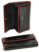 Женский лаковый кожаный кошелек Alessandro Paoli. Черный и красный кошелек из натуральной кожи. Модный Черный