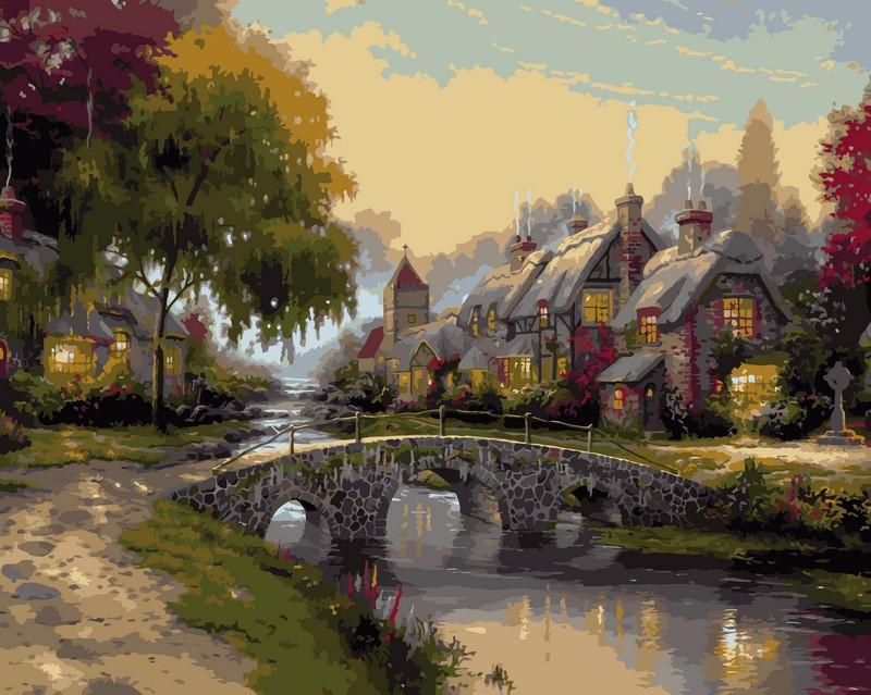 Картины раскраски по номерам 40×50 см. Каменный мост ...