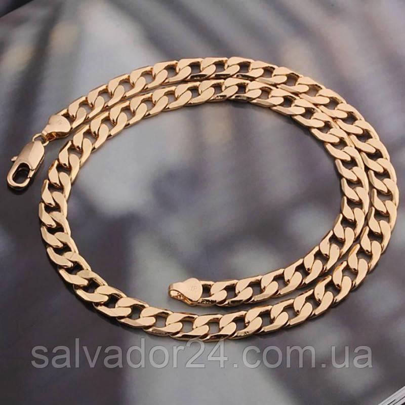 Мужская цепь Gold filled 18k розовое золото панцирное плетение