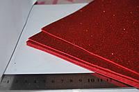 Фом. Глитер. Без клеевого слоя. красный.  2 мм. А4 лист.