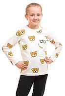 Стильный модный реглан Мишки, карман очки для девочки 5-10 лет (размер 110-140) ТМ Kids Couture