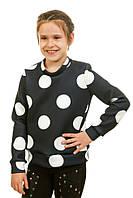 Спортивная флисовая кофта 17-234 с принтом в горох для девочки 5-10 лет (размер 110-140) ТМ Kids Couture