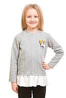 Ультрамодная кофта Косички с баской и мишкой для девочки 5-10 лет (размер 110-140) ТМ Kids Couture