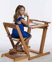 Комплект парта Косинець и стул регулируемый Бук с подставкой для ног