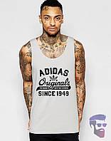 Майка борцовка мужская Adidas Originals серая Адидас